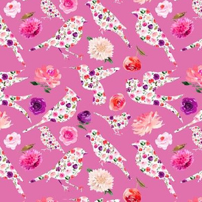 BRIGHT FLORAL birds silhouettes Pink 6""