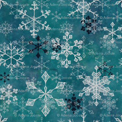 Snowflake Crystals in Turquoise