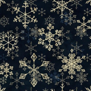 Snowflake Crystals in Gold