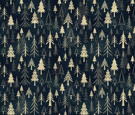 Christmas tree mix in gold fabric by adenaj on Spoonflower - custom fabric