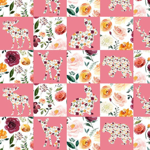 """4"""" Woodland Floral Wholecloth Cheater Quilt"""