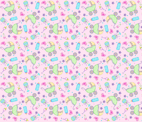 Baby Buggy Pink Small NonDirectional fabric by phyllisdobbs on Spoonflower - custom fabric