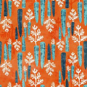 Watercolor carrot repeat orange
