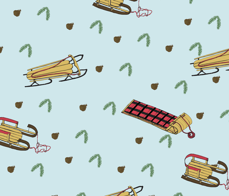 Vintage Toboggans fabric by kathleenbruceillustration on Spoonflower - custom fabric