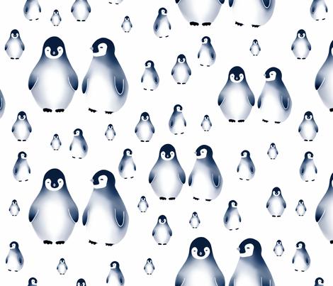 Sweet penguins, Blue fabric by sara_kristina_elisabeth_ on Spoonflower - custom fabric