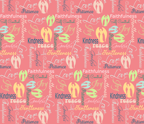 Fruit of the Spirit angels pink fabric by pamelachi on Spoonflower - custom fabric