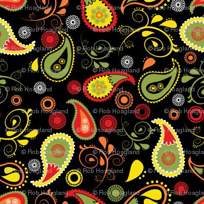 doodled paisley black