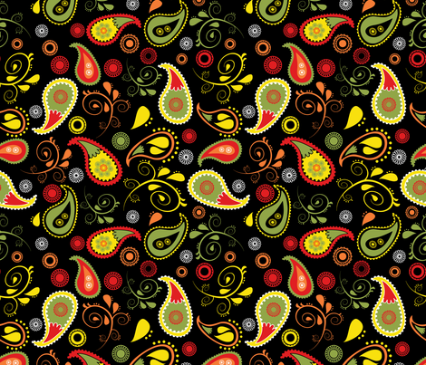 doodled paisley black fabric by b0rwear on Spoonflower - custom fabric