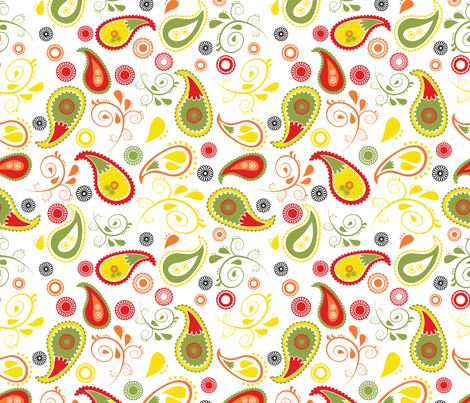 doodled paisley white fabric by b0rwear on Spoonflower - custom fabric