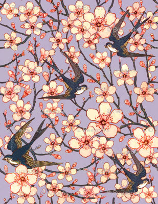 Almond blossoms and swallows