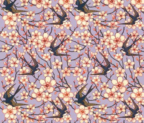 Almond blossoms and swallows fabric by beesocks on Spoonflower - custom fabric