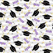 Tossed Graduation Caps with Purple 2020, Gold & Silver Confetti (Small Size)