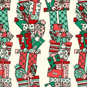 Stacked Pressies in Green & Red on Cream