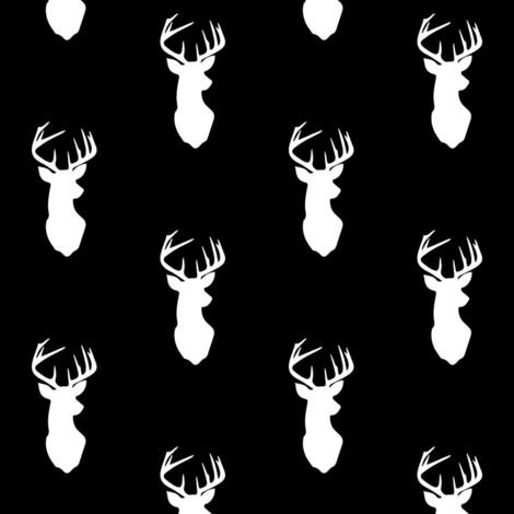 B&W Buck (black) // Small Scale fabric by littlearrowdesign on Spoonflower - custom fabric