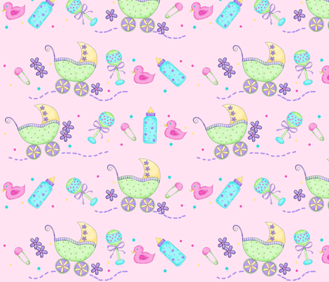 Baby Buggy Pink Large fabric by phyllisdobbs on Spoonflower - custom fabric