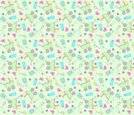 Baby Buggy Green Small NonDirectional fabric by phyllisdobbs on Spoonflower - custom fabric