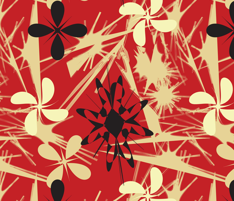 Geo-Flowers-Red-and-Black fabric by oona2707 on Spoonflower - custom fabric