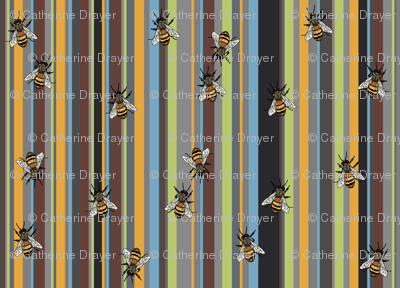 Bees on grey stripe