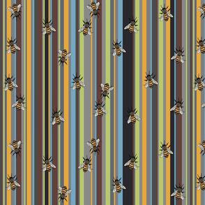 Bees on grey stripe