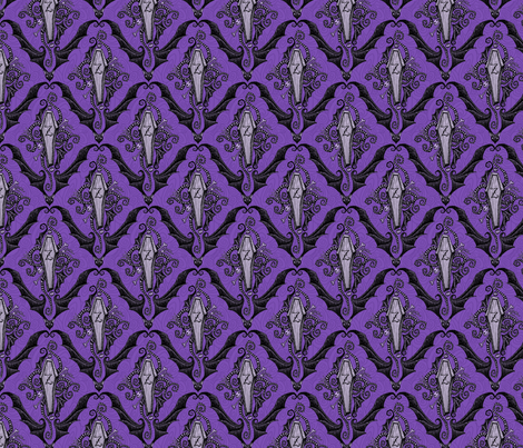 Brians Damask - royal purple fabric by thecalvarium on Spoonflower - custom fabric