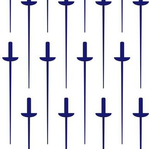 Large Midnight Blue Fencing Foil on White