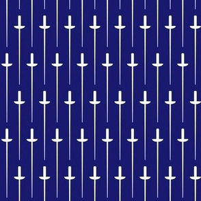 Medium White Fencing Foil on Midnight Blue