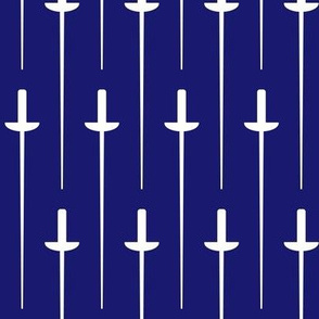 Large White Fencing Foil on Midnight Blue
