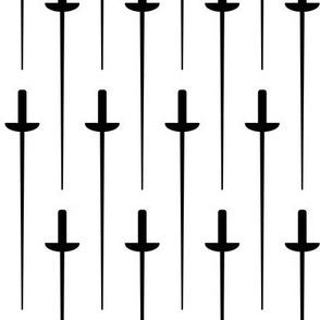 Large Black Fencing Foil on White