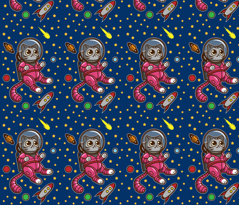 Kitty cat in space fabric jennifersmithart spoonflower for Space cat fabric