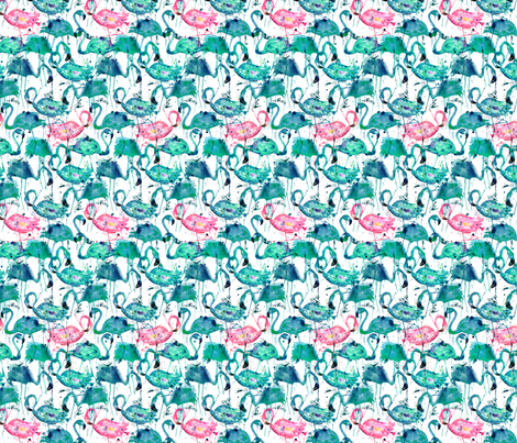 flamingo repeat teal! smallest scale fabric by karismithdesigns on Spoonflower - custom fabric
