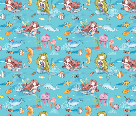 Mermaid Swimming Party fabric by michellegracedesign on Spoonflower - custom fabric