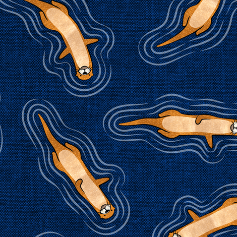 swimming otters - navy fabric by littlearrowdesign on Spoonflower - custom fabric