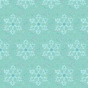 teal snowflakes // winter giftwrap xmas holiday christmas fabric