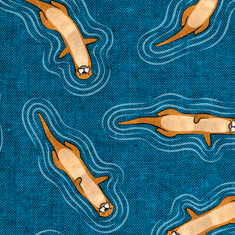 swimming otters - blue fabric by littlearrowdesign on Spoonflower - custom fabric