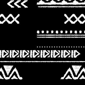 Modern aztec ethnic tribal patchwork indian summer abstract fabric monochrome black and white Large