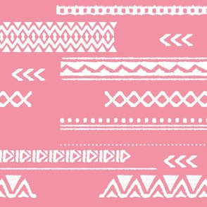Modern aztec ethnic tribal patchwork indian summer abstract fabric monochrome pink Large