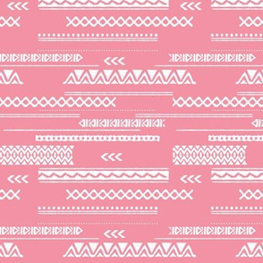 Modern aztec ethnic tribal patchwork indian summer abstract fabric monochrome pink Small