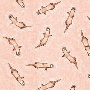 (small scale) swimming otters - peach