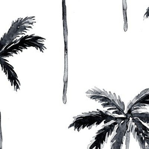(jumbo scale) palm trees - watercolor black and coral