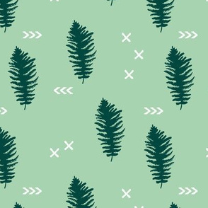 Geometric fern forest with crosses arrows and leaves mint green
