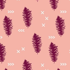 Geometric fern forest with crosses arrows and leaves pink maroon