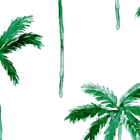 (jumbo scale) watercolor palm tree - green fabric by littlearrowdesign on Spoonflower - custom fabric