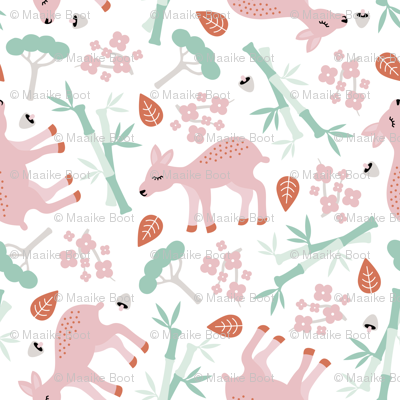 Nara National Park Japan travel icons deer and bamboo forest mint pink
