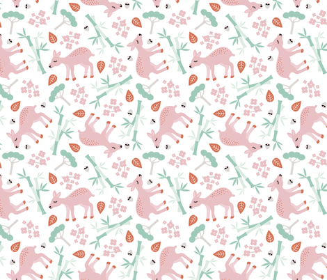 Nara National Park Japan travel icons deer and bamboo forest mint pink fabric by littlesmilemakers on Spoonflower - custom fabric