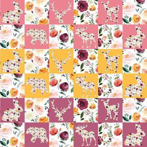 "Autumn Watercolor Silhouettes Quilt Multicolor 4"" squares"