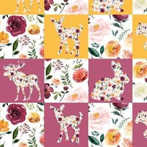 "Autumn Watercolor Silhouettes Quilt Multicolor 2"" squares"