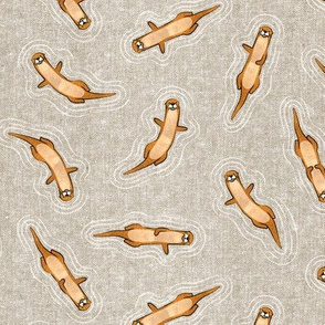 (small scale) otters swimming - beige