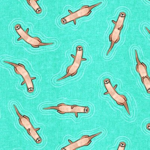 (small scale) swimming otters - teal