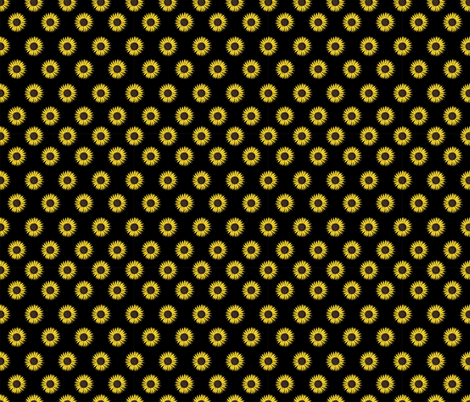 sunflower polka-dots black smaller fabric by b0rwear on Spoonflower - custom fabric