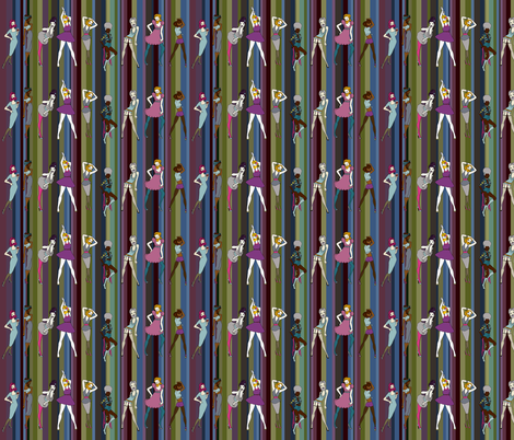 Bearded Ladies on retro stripe - winter palette fabric by coppercatkin on Spoonflower - custom fabric